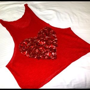 ⚠️$5.00 today OVRside cherry red lite weight tank - sweater add 3+ BUNDLE to 💰